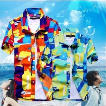夏季男士沙滩衬衫印花短袖夏威夷衬衣宽松大码情侣沙滩裤男花衬衫