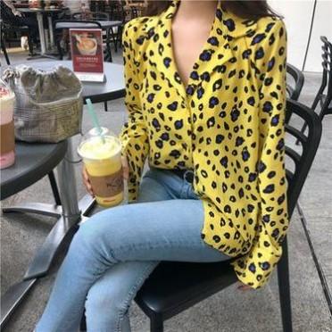 实拍2018夏季新款韩版时尚百搭豹纹衬衫女上衣