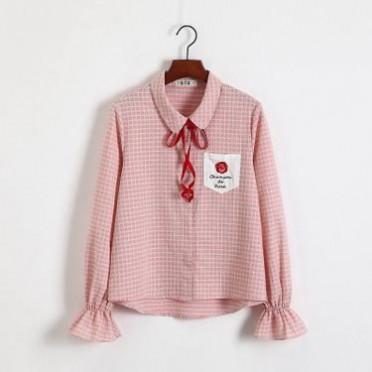 2019春新款娃娃领蝴蝶结格纹长袖衬衫女学生女装