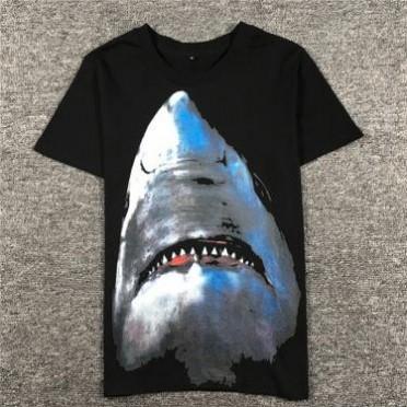 17夏季男士短袖T恤新款欧美潮流个性鲨鱼印花t恤男宽松圆领情侣装