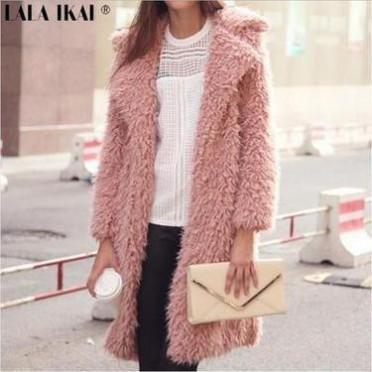 2019速卖通热卖冬季新款仿羊毛长袖外套翻领毛茸茸中长款大衣