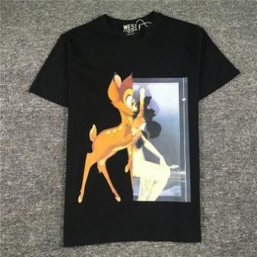2017夏季新款欧美潮牌印花小鹿斑比圆领短袖T恤男女情侣装