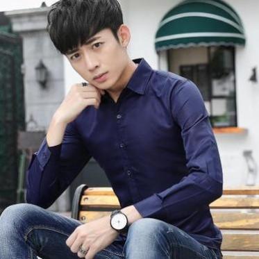 11901春秋长袖衬衫青年男士韩版修身休闲商务纯色衬衣潮男装寸衫