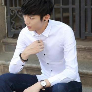 10065春秋长袖衬衫青年男士韩版修身休闲商务纯色衬衣潮男装寸衫