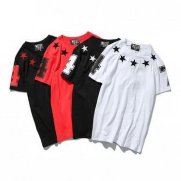 17夏季欧美时尚潮牌五角星星74数字植绒刺绣短袖T恤男女情侣装