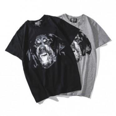 夏装欧美潮牌街头风罗纳威犬灰色狗头体恤 男女情侣款纯棉短袖T恤