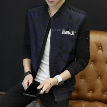 281805秋季新款男士夹克外套青年韩版修身男士棒球服休闲男装潮