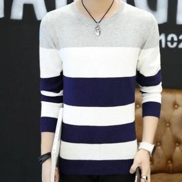 732201秋冬季男士毛衣青少年保暖圆领男式针织衫韩版修身毛线衣潮