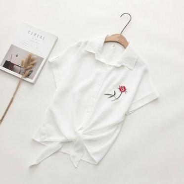 2019春夏季新款百搭刺绣修身棉衬衫女学生上衣