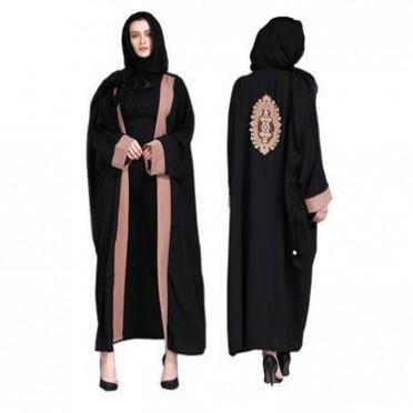 现货2018新款阿拉伯服饰土耳其中东开衫长裙撞色长袍女装