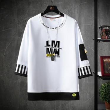 男士短袖t恤男夏季韩版潮流男装宽松圆领半袖体恤中袖卫衣假两件