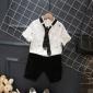 果壳童装2017春夏韩版男童短袖衬衫短裤套装 新款男童休闲套装
